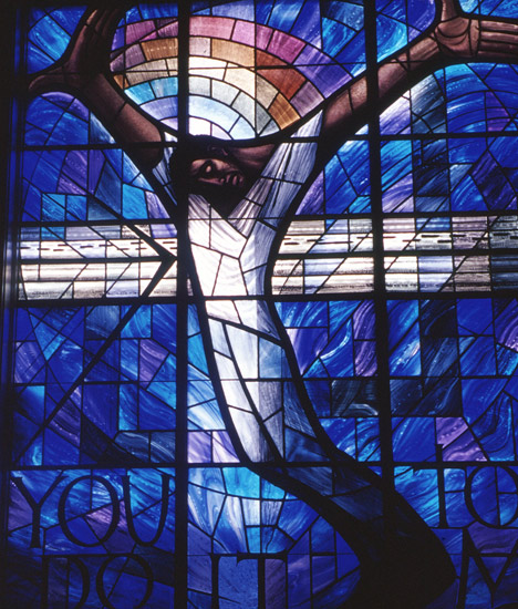 16th St Baptist Church Crucifixion Stained Glass Window