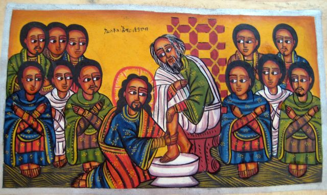 Ethiopian Jesus washing feet