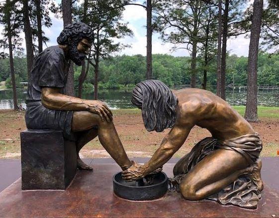 Jesus bronze sculpture washing feet