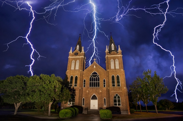 thunderstorm church