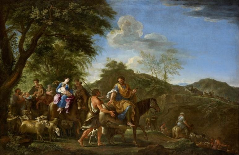 Jacob Fleeing Laban by Filippo Lauri