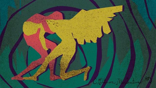 Jacob Wrestles the Angel by Christina Mattison Ebert