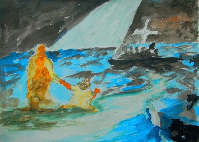 Jesus Saving Peter by Bertram Poole