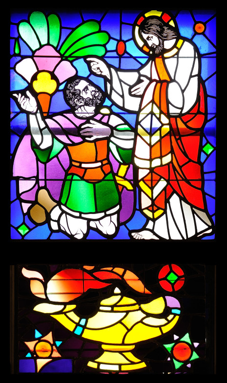 Centurion Begs Jesus stained glass