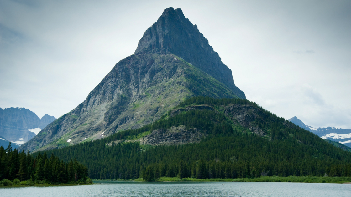 Imposing Mountain View and Lake Glacier National Park